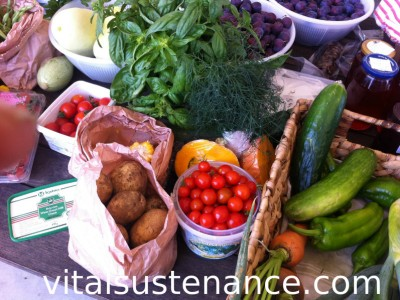 table laden with fruits and vegetables