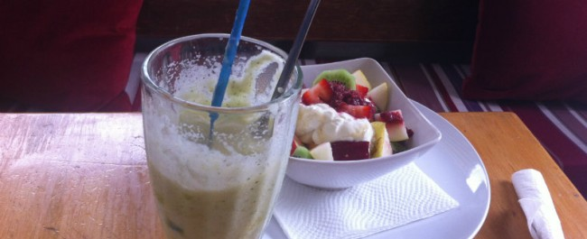 fruit salad and juice at caffe