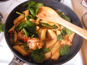 spinach tomato chicken soup with pasta