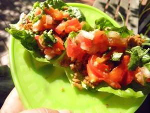 lettuce leaves with ground nuts spices and salsa