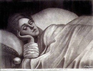 drawing of sleeping woman