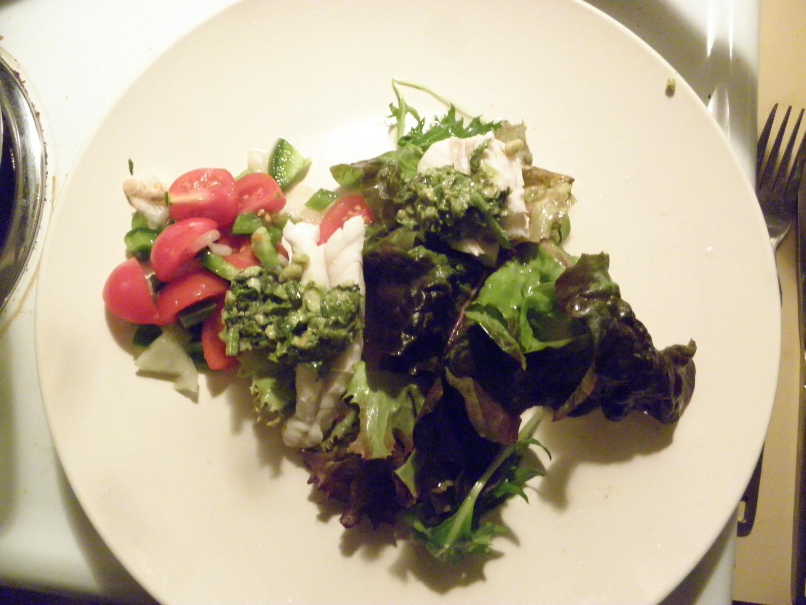 butterfish basil pesto tomato salsa and salad