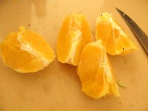 whole orange split in segments