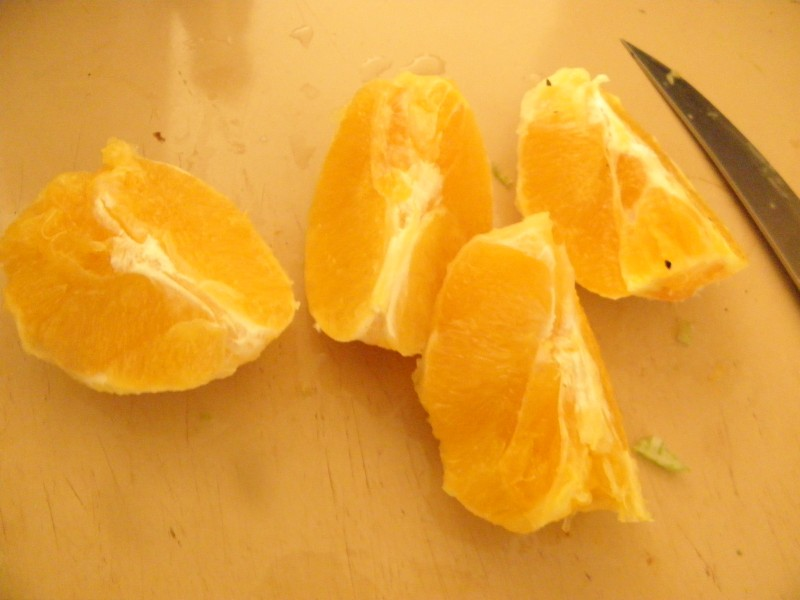 whole orange split in segments