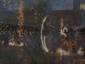 artwork of night sparklers fairy lights and a birthday party in the darkness