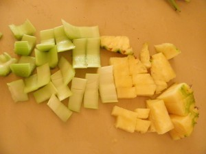 celery and pineapple for green smoothie