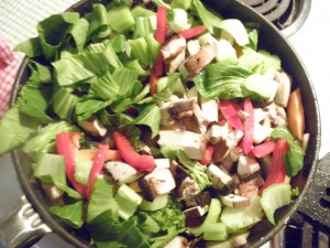 stir fry in progress - fry pan filled with cut up veges