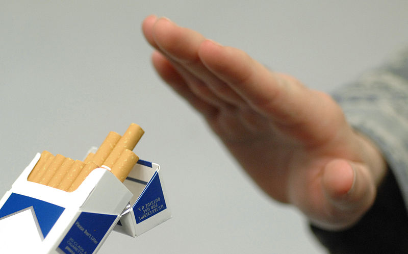 declining the offer of a cigarette