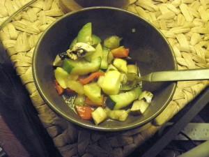 bowl of steamed zucchini, mushroom, tomato, capsicum etc