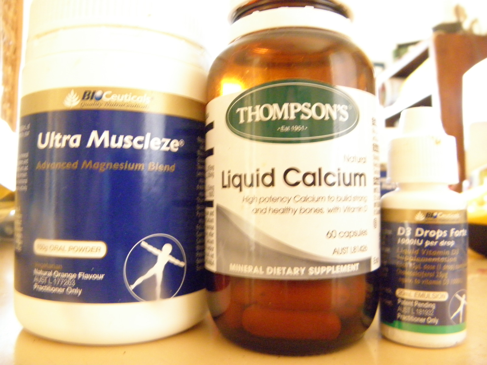 Magnesium, calcium and vitamin D supplements