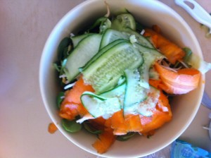 carrot and cucumber finely sliced with a vegetable peeler
