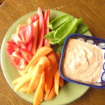 capsicum and walnut dip with snow peas, carrot and capsicum
