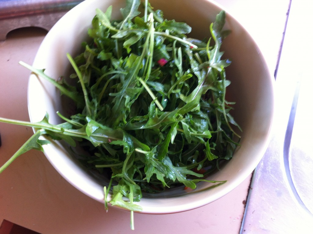 bowl of rocket and leaves in large bowl
