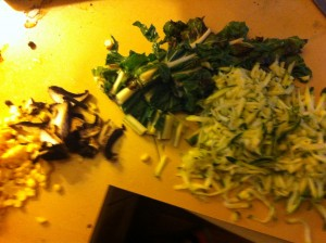 chopped and diced, shallots, mushrooms, corn, spinach and grated zucchini
