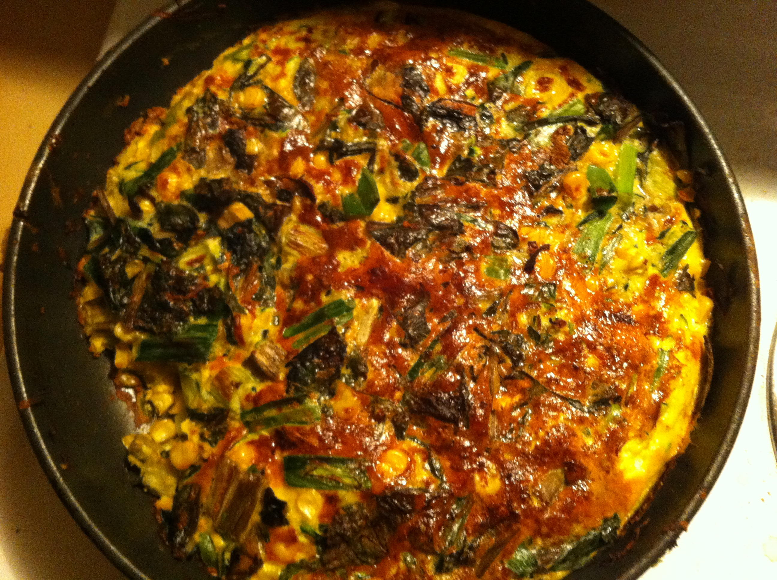browned top of egg and zucchini frittata