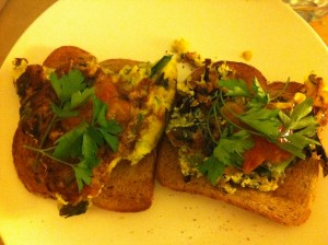 fritatta on toast with parsley and tomato relish