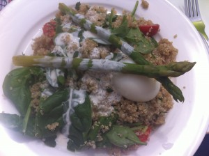 quinoa, aparagus, boiled egg with salad