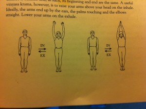 standing, raising arms diagram exhale inhale