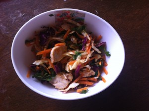 chicken noodle salad with cabbage and herbs