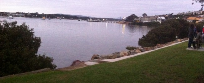 view to the Merimbula jetty and lake