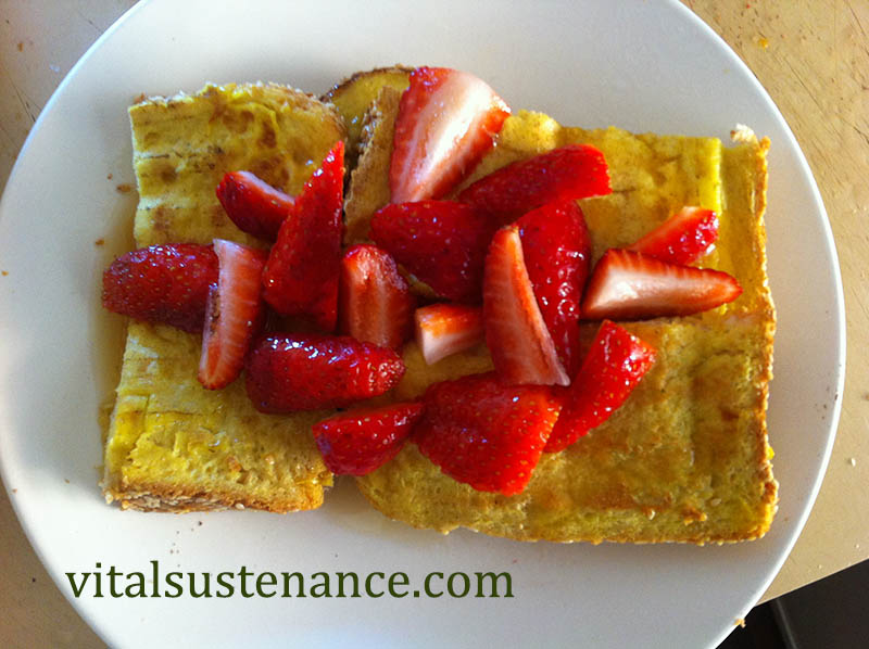 french toast with strawberries on top