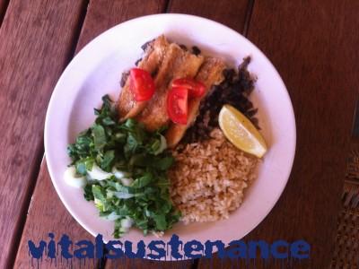 brown rice, buk choy, tomatoes, fish and mushrooms