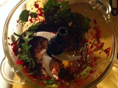 beetroot spinach and walnuts in food processor