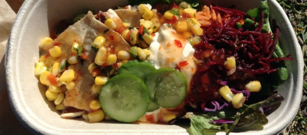 salad with quesidilla and corn salsa