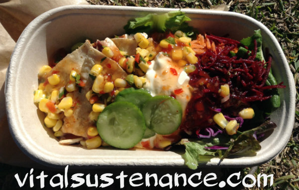 salad with quesidilla and corn salsa