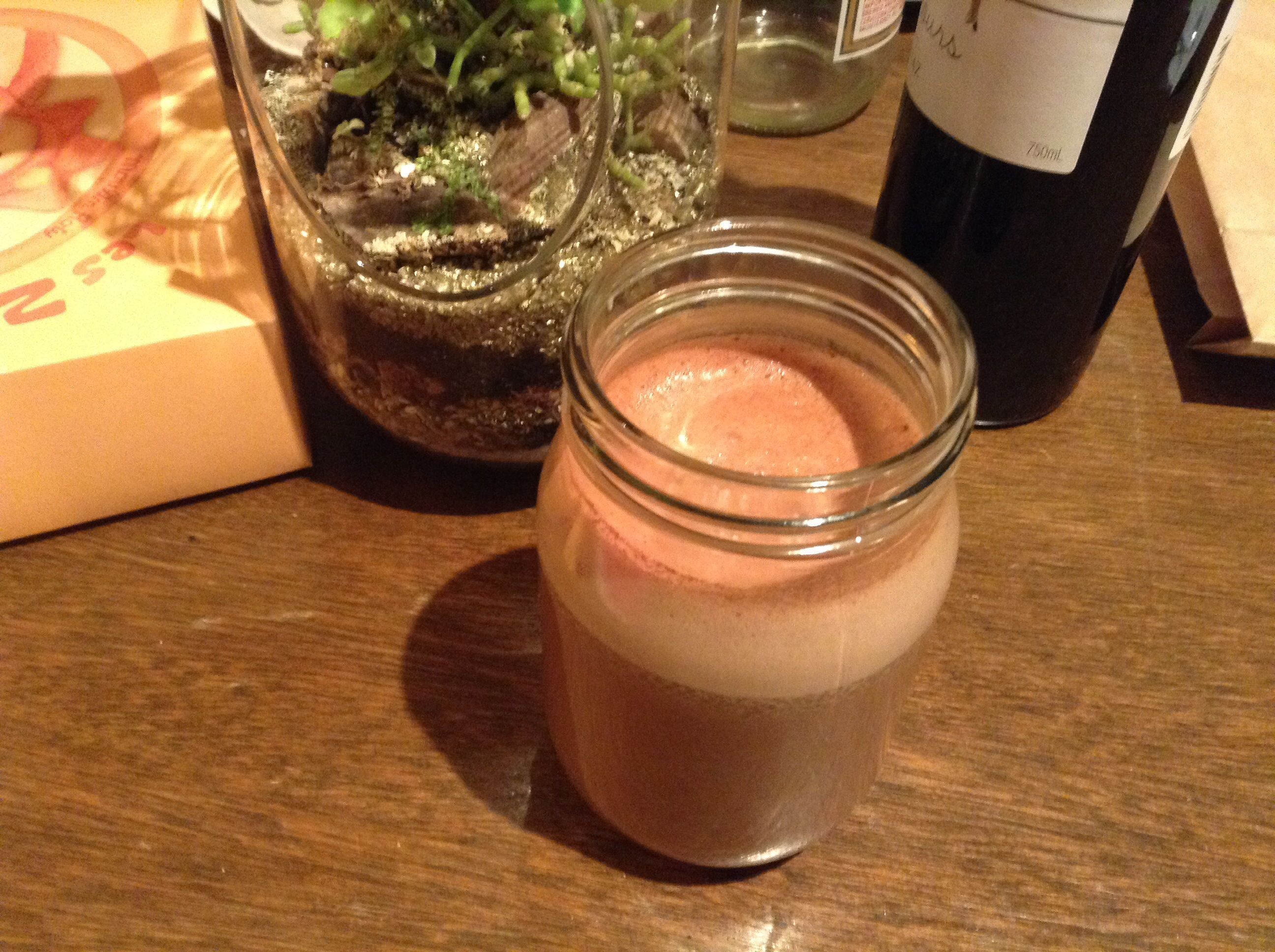 Jar of chocolate milk in front of terrarium
