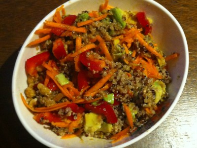 quinoa, avocado, carrot, capsicum salad with nuts and asian dressing