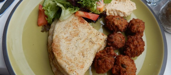 Falafels, salad, pita and dips