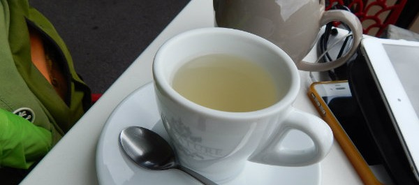 Cup of lemongrass and ginger tea and pot