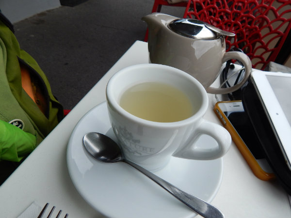 Cup of lemongrass and ginger tea and pot, nicotine withdrawal