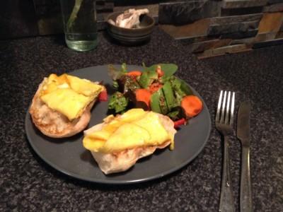 Omelette, toast and salad