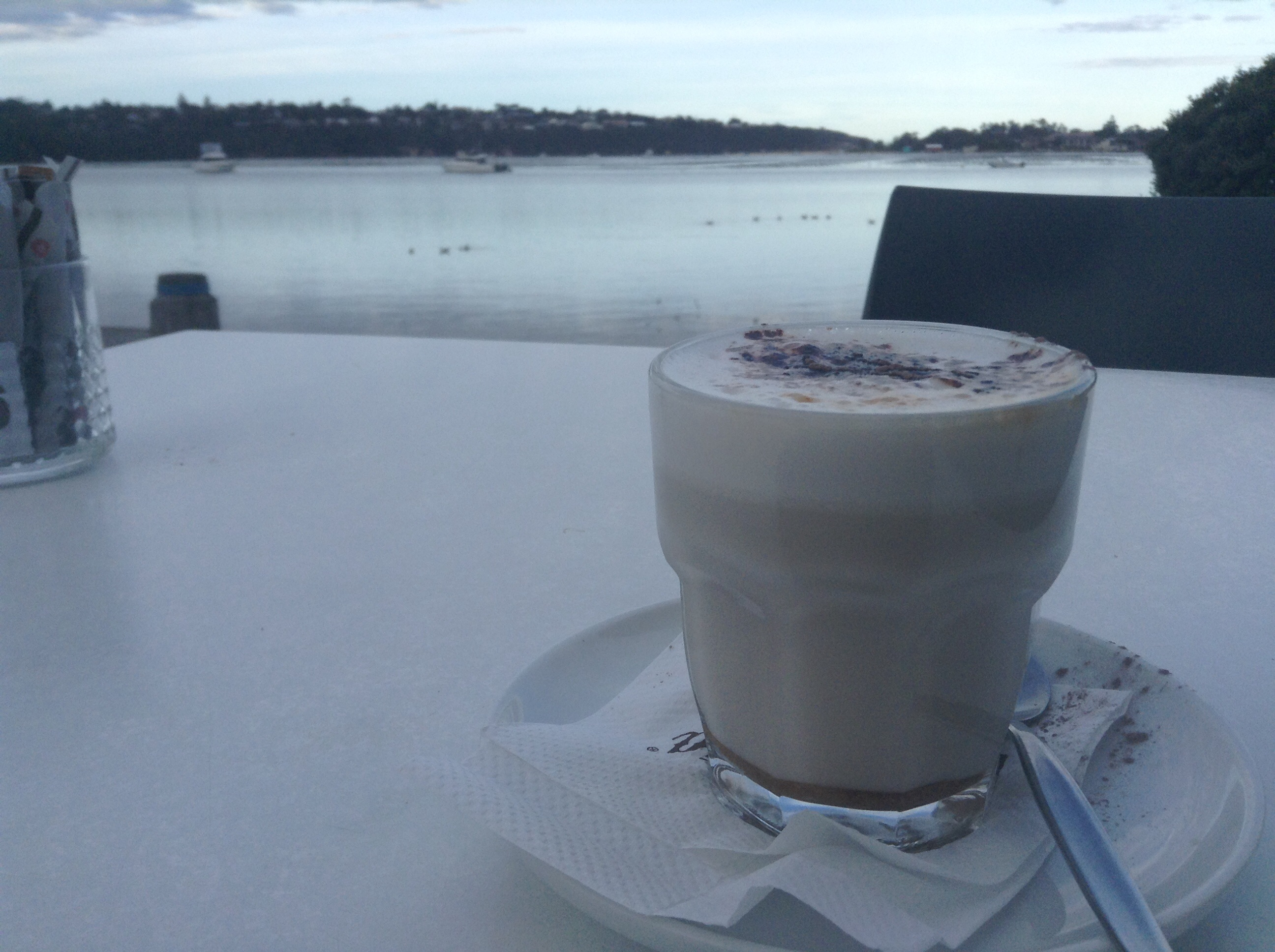 Chai latte on the lake