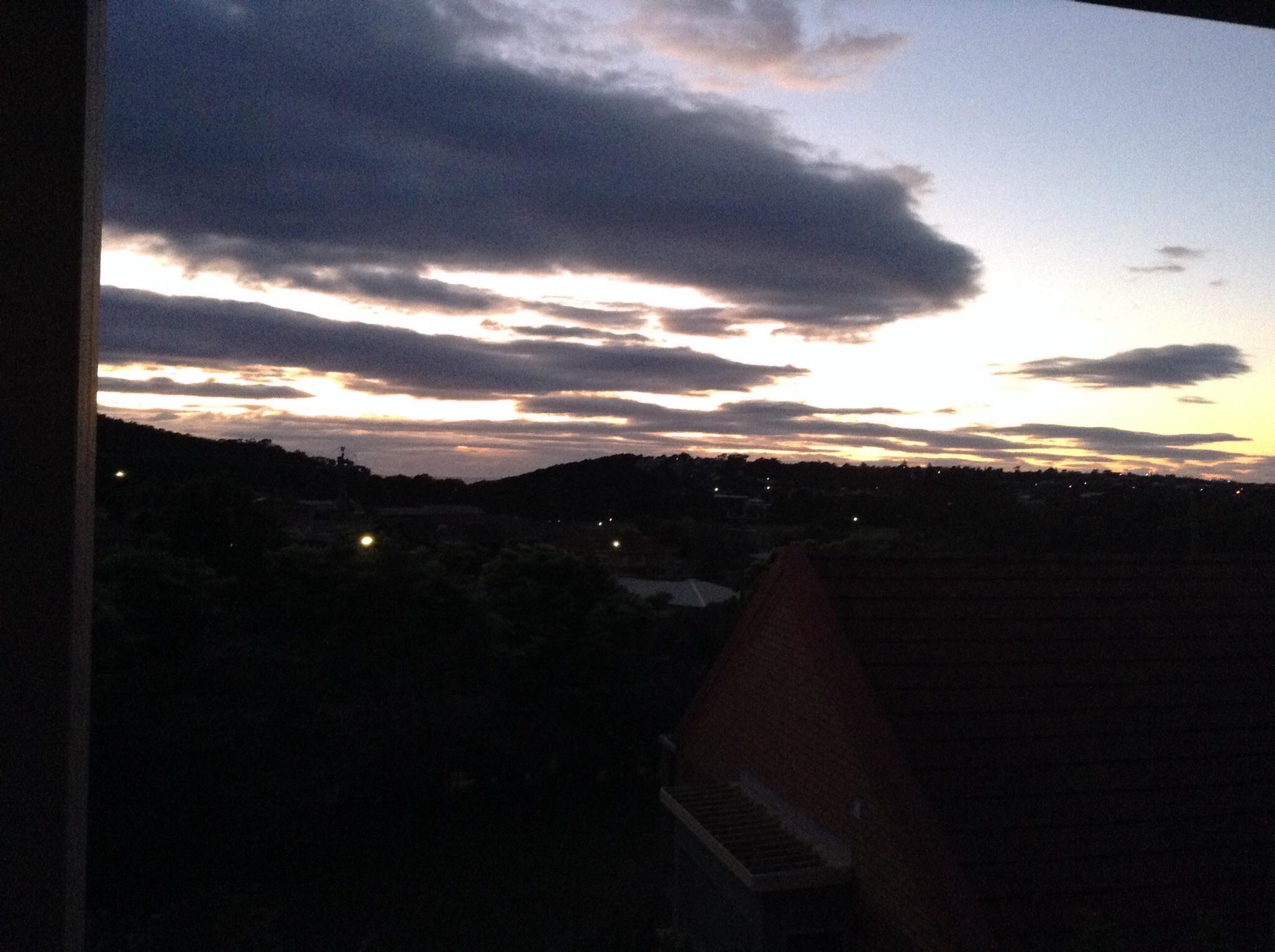 Light of dawn over the coast line