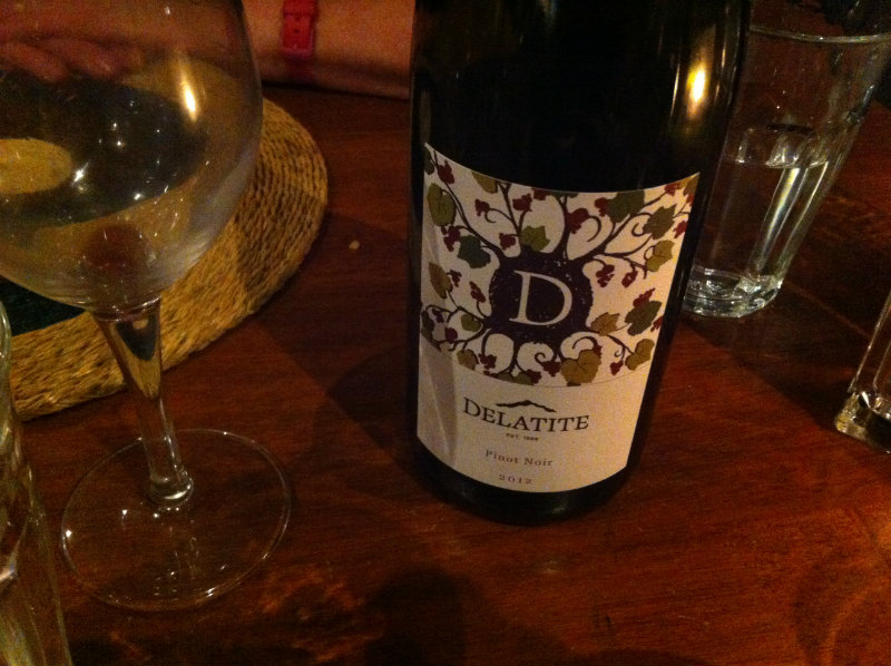 delatite pinot noir with glassware
