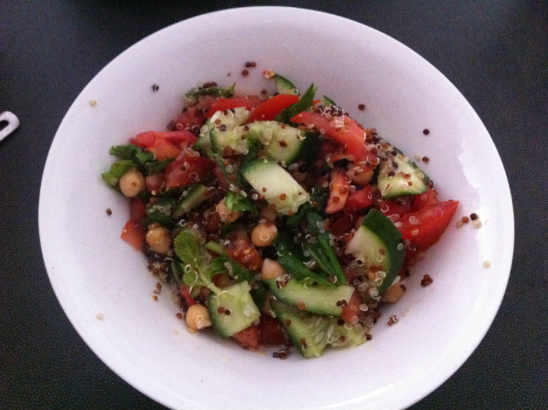 quinoa, chickpeas, mint, tomato, cucumber, lemon juice, mustard dressing