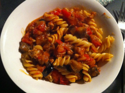 sensory pleasure, eggplant and chicken pasta