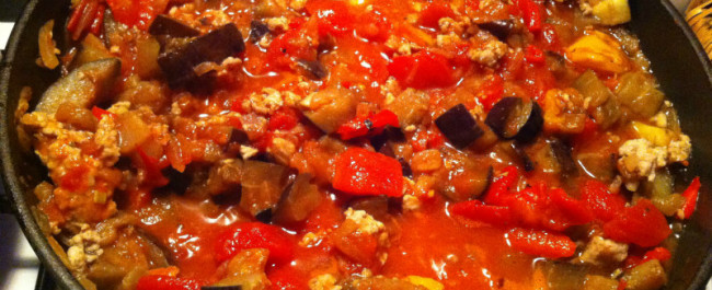 sensory pleasure - tomatoes, capsicum, eggplant and chicken pasta on a winter's night