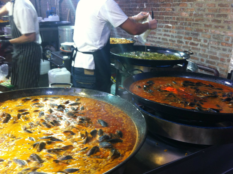 paella at summer night market - not chicken gumbo at winter night market