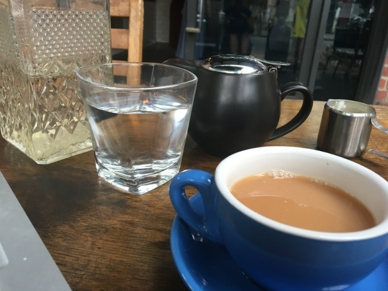 quitting nicotine or NRT - environmental stimulation - tea and water at a cafe