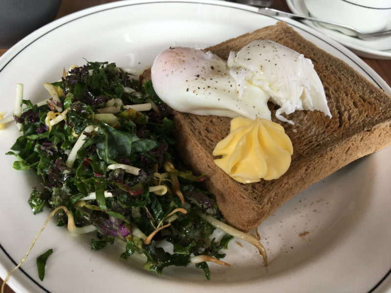 bedford street - poached eggs and green breakfast slaw