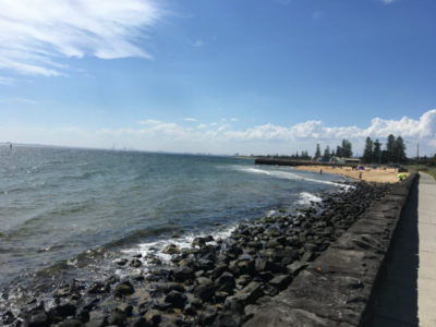 stepping down on nicotine patches - a new and open sky - elwood beach foreshore and all that blue open air