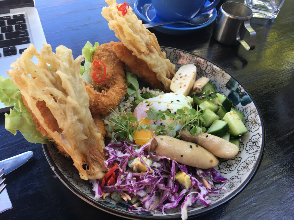tempura enoki, oat crusted chicken, egg, rice, slaw, salad, breakfast thieves lunch fitzroy
