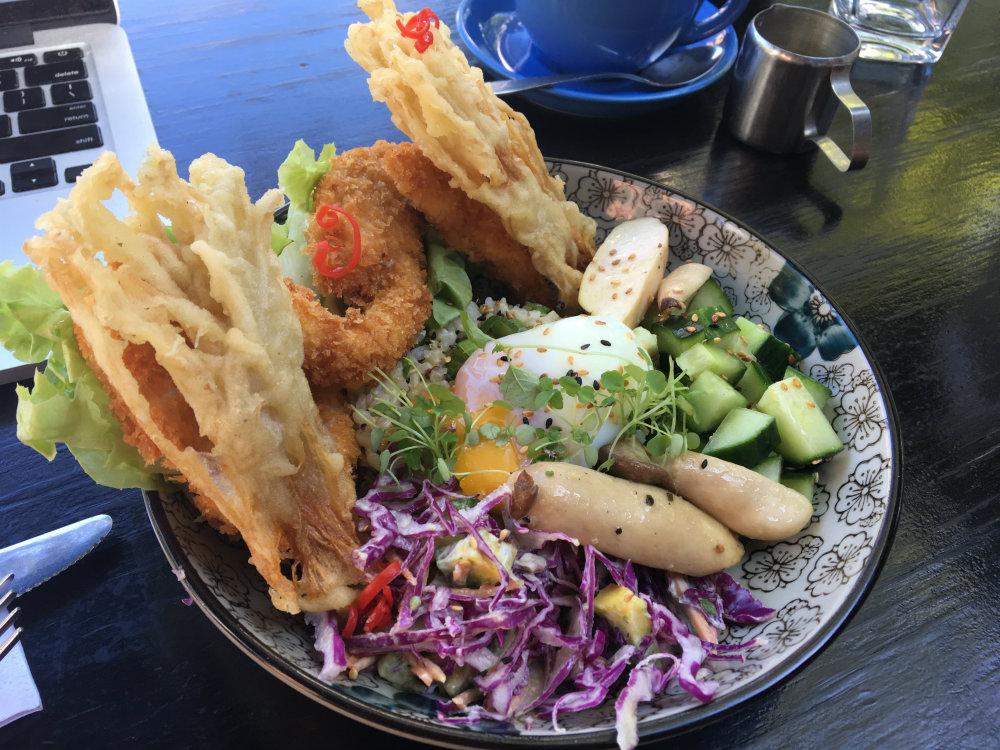 tempura enoki, oat crusted chicken, egg, rice, slaw, salad, breakfast thieves lunch fitzroy