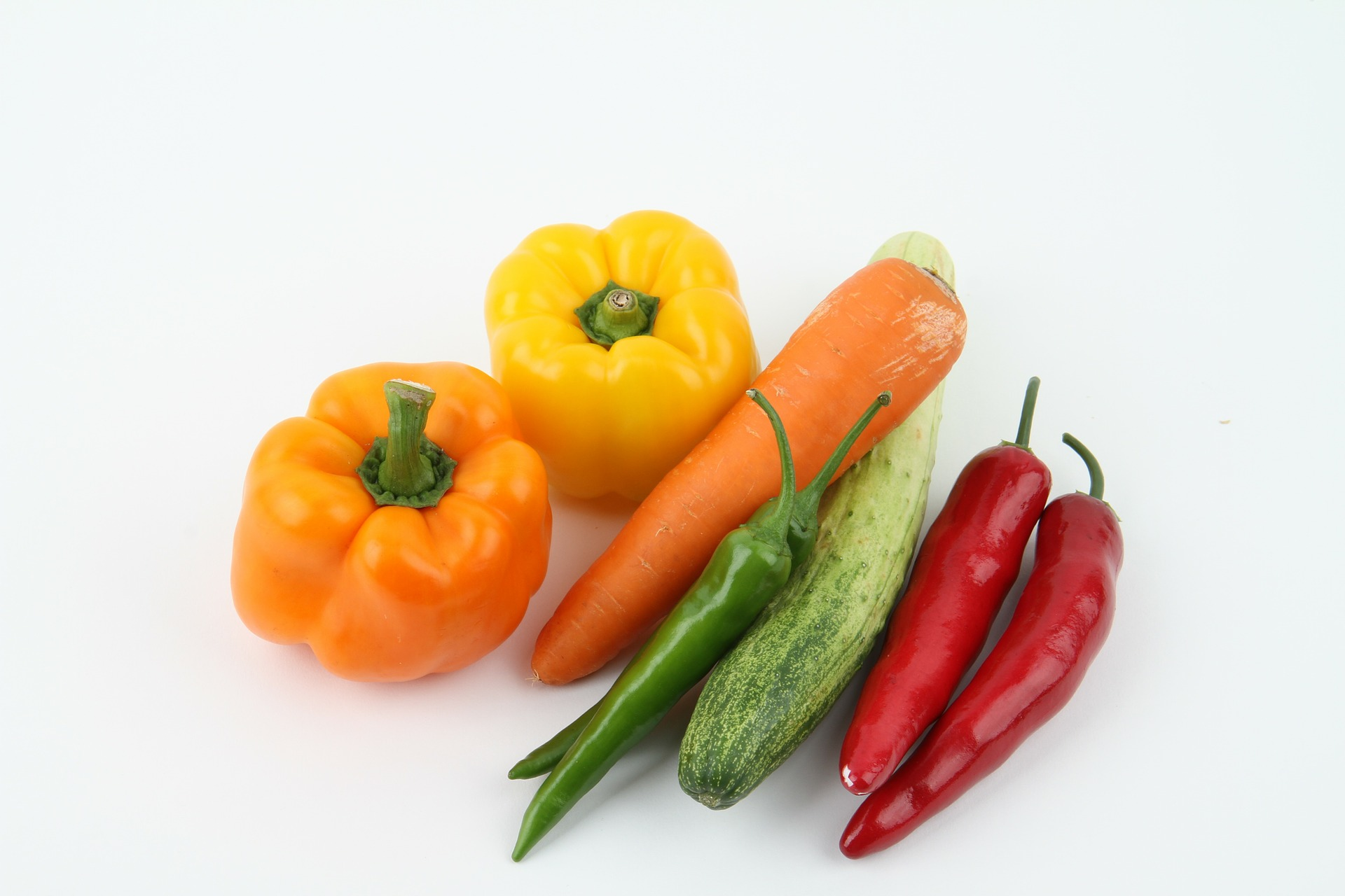 reduce energy density by adding vegetables - pictured capsicum, carrot, cucumber and chilli