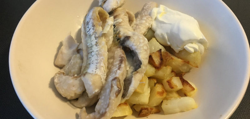 fish, potatoes, sour cream
