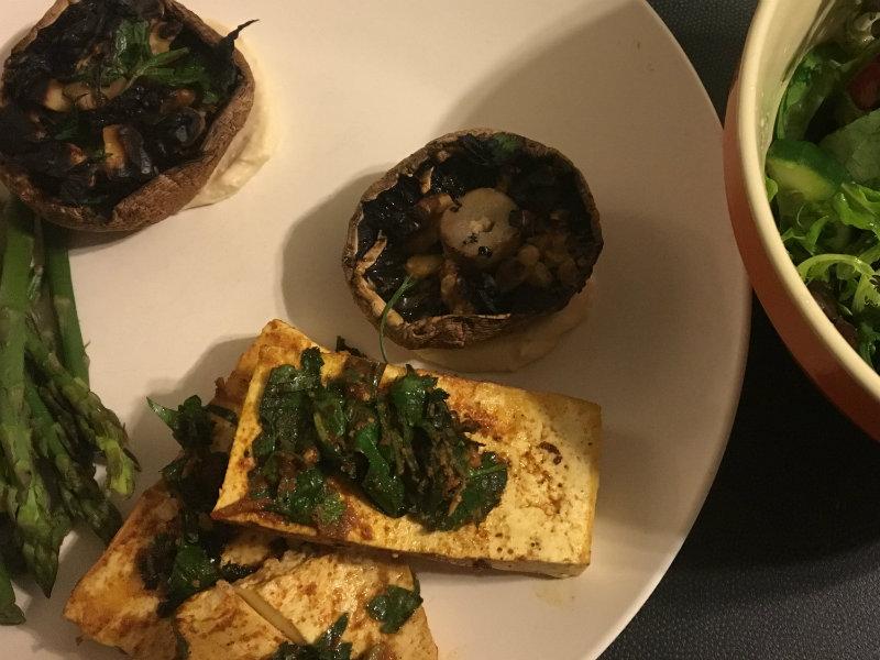 mushrooms, tofu, asparagus and leaf salad